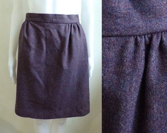 40%offAug15-17 80s felted wool skirt size small, high waist skirt, 1980s mini skirt, purple brown minimalist skirt, a-line skirt