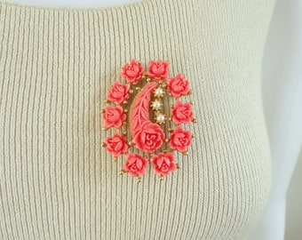 70s pink rose pin, gold metal, resin & faux pearls, floral pin, 1970s flower brooch, vintage pin, vintage brooch, costume jewelry, jewellery