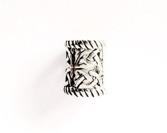 Large Silver Beard Ring/ Dreadlock Bead VIKING KRISTALL Kai