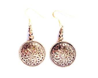 Bronze Gotland Earrings VIKING KRISTALL Solar Symbol