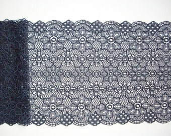 Navy stretch lace, floral lace trim, lingerie lace, scalloped lace, elastic lace, table runner lace, 17.5 cm, 7'' wide, by the half metre