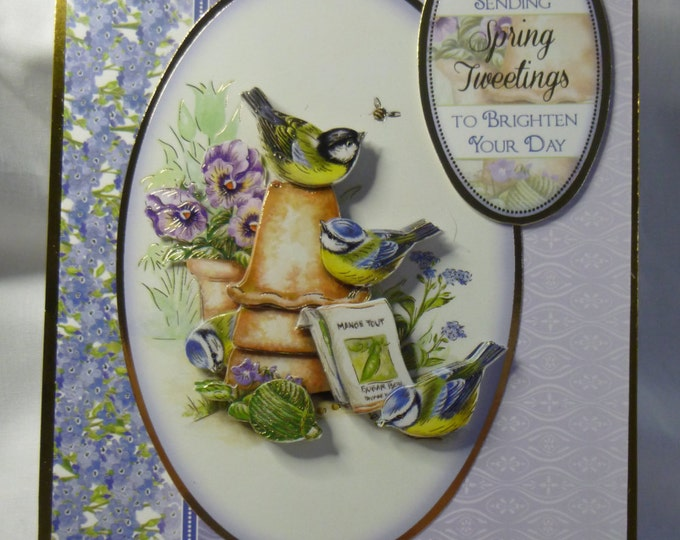 Bird Birthday Card, Greeting Card, Blue Floral, 3D Decoupage, Blue Tits, Birds, Any Age, Female, Mother, Sister, Aunt, Niece, Daughter