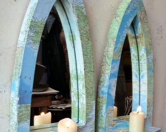 Pair Gothic Arch Map Atlas Nautical Mirrors with Shelves 38.5 cm long Pine Base