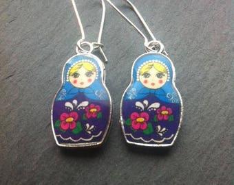 Blue and Purple Babushka Earrings