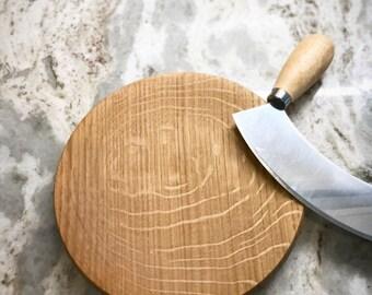 mezzaluna herb chopper, herb chopper knife, mazzaluna and cutting board, mincing set