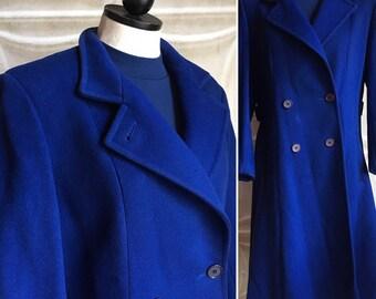 Vintage royal blue wool winter pea coat.  Cobalt blue