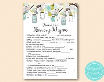 Mason Jar Baby Shower Games, Nursery Rhyme Baby Shower, Nursery rhyme game, Nursery rhyme quiz,  Nursery Rhyme Baby Shower Games, TLC146