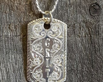 Sterling Silver Pendant, hand engraved