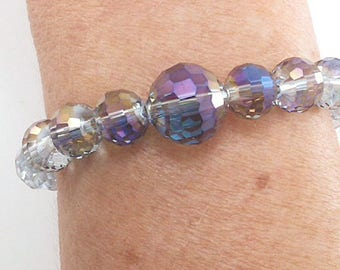 Purple Blue Lavender Iridescent Faceted Crystals Handmade One-of-a-Kind Beaded Stretch Bracelet