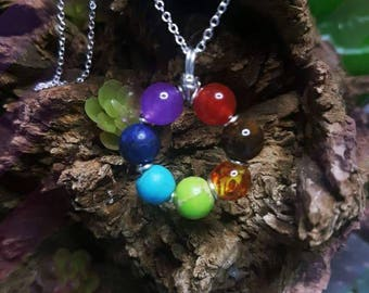 Chakra wheel sterling silver pendant and chain
