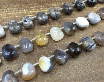 Botswana Agate Nugget Beads Tumbled Agate Nugget Stone Beads Polished Agate Beads Top Drilled Jewelry Beads 18x24mm 17pieces / strand