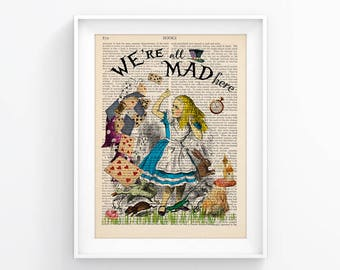 Wall Print Vintage Illustration Alice In Wonderland Decorative Art Book Page Upcycled Page decor, Retro Print, Poster Vintage Book print 105