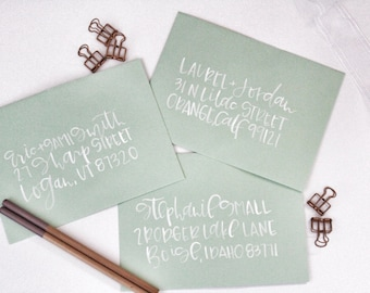 Watercolor Calligraphy Addressed Envelope - Wedding Envelopes - Calligraphy - Baby - Holiday - Custom - Envelope - Brush Lettering