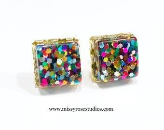 glitter earrings, stud earrings, square earrings, glitter jewelry, gold post earrings, resin jewelry, party earrings, gift for her