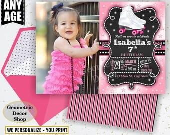 Roller Skates / Birthday Invite / Invitation / Pink / Chalkboard / Black / Girl Printable Photo Photograph / Roller Skates invitations BDRS7