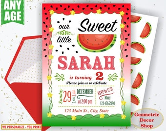 Watermelon Birthday invitation, one in a melon, summer, printable watermelon invite, invitations, red, green, pink, photo, photograph BDW5