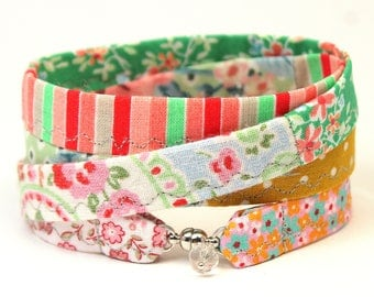 bracelet to wrap handmade fabric cotton gipsy hippie pink rosa