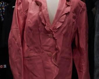 Vintage Terry Lewis Ruffle Lapel Leather Jacket-Pink L/XL #115B