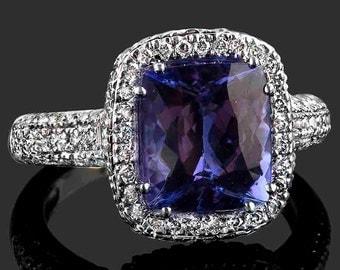 4.73 TCW Cushion Cut Tanzanite Engagement Ring, Deep Blue Tanzanite Ring, Halo Engagement Ring, Tanzanite, 18k White Gold Ring