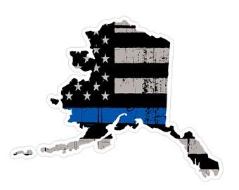 Alaska State (V4) Thin Blue Line Vinyl Decal Sticker Car/Truck Laptop/Netbook Window