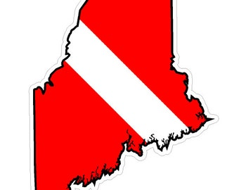 Maine State (Y20) Diver Down Flag Vinyl Decal Sticker Car Laptop/Netbook