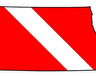 North Dakota State (Y35) Diver Down Flag Vinyl Decal Sticker Car Laptop/Netbook