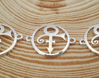 3 Shiny Silver Plate PRINCE Symbol Charm Connectors | Prince Symbol | Name Symbol | 2253