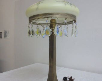 Antique Glass Paint Shade Prism Table Lamp