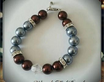 Pearl Bracelet Blue & Brown w/Swarovski Crystal Bicone Focal