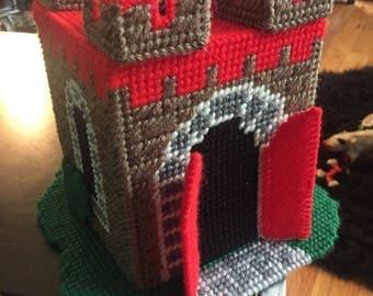 Vintage handmade cross stitch crochet tissue holder castle plastic canvas needlepoint