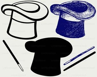 Magic hat svg,wand clipart,wand  clipart,Magic hat svg, Magic hat silhouette,cricut cut files,digital download svg,eps,png,dxf,jpg