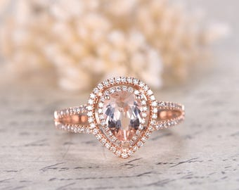 6x8mm Pear Cut Morganite Ring, Double Halo, Split Shank, Morganite Engagement Ring, 2 Tone, 14K Rose Gold , Pave Diamonds