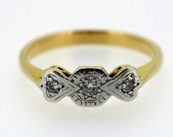 An Art Deco 9ct Gold three stone Diamond ring - 20% OFF SALE