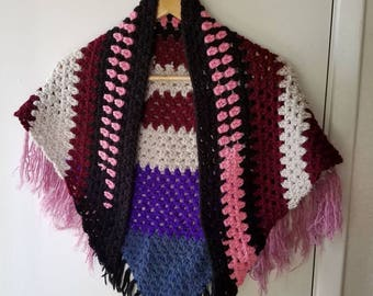 Scrap Yarn Crochet Triangle Scarf *** free shipping ***
