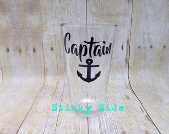 Captain Pub Glass   Captain Beer Glass   Captain   Gift For Him   Husband Gift   Nautical Pub Glass   Nautical Beer Glass   Anchor   Husband