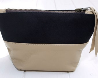 Leather & Canvas Cosmetic Bag