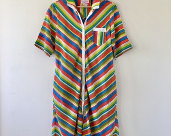 Vintage 1970's Evelyn Pearson Rainbow Stripe Dress // Summer Dress // Long Dress