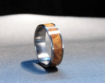 Olive wood and Titanium ring, Jerusalem olive wood inlay ring, exotic olive wood inlay, wedding band,wedding ring