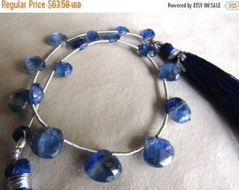 ON SALE 50% Kyanite Briolettes, Faceted Heart Briolettes, Blue Kyanite Beads, 5mm To 10mm, 17 Pieces Approx