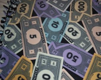 Brand New Million Dollar Monopoly Money  Double Sided Hand Tied Fleece Rag Blanket