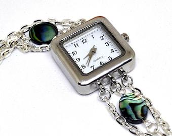 Sterling Silver Bracelet Watch, Beach Jewelry, Abalone Shell Watch, Mom Gift, Sterling Silver Watch, Beach Lovers Gift, Beach Gift