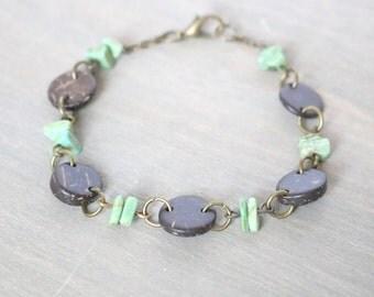 Magnesite Wood Bronze Bracelet - Gemstone Bracelet, Aqua Bracelet, Brown Bracelet, Wood Bracelet, Bronze Bracelet, Boho Bracelet, Boho Style