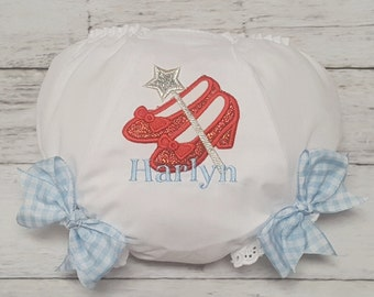 Dorothy RUBY SLIPPERS SHOES Personalized Glitter Diaper Cover Bloomers