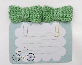 Mint Crochet Bow  Planner Paperclip/Bookmark/Clip    [035]