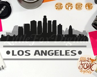 los angeles usa skyline america city silhouette clipart set digital illustration scrapbook