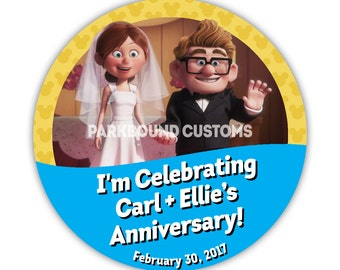 "Custom 3"" ""I'm Celebrating My Anniversary/Wedding"" Buttons with Carl & Ellie"