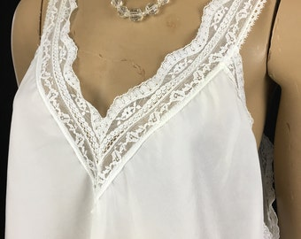 Vintage Christian DIOR White Lace Camisole Top Large 1980s White Women's L Bridal