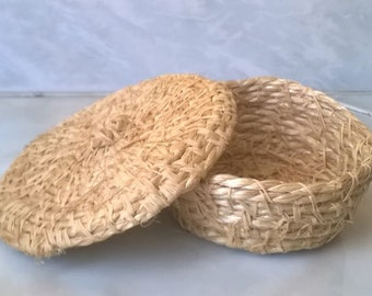 Jar jar wedding favor natural raffia string sewn and hand made