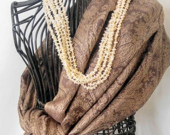 PASHIMNA Large Vintage Luxury Paisley Wrap/Shawl/Scarf-Silk, Tan, Brown, Taupe, Gold-All Orders Only 99c Shipping!!