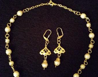 Necklace, Renaissance, Set, Enssemble, Pearls, Süßwasserperlen, Ohrringe, Tudor, Gold, Princess, Handmaide, Unique, LARP, Lady, Costume